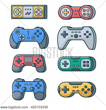 Set Of Game Joysticks On An Isolated White Background. Joypad For Console, Pc And Video Games. Vecto