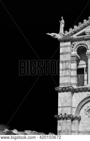 Pisa Cathedral Romanesque Facade Detail, Completed In The 12th Century (black And White With Copy Sp