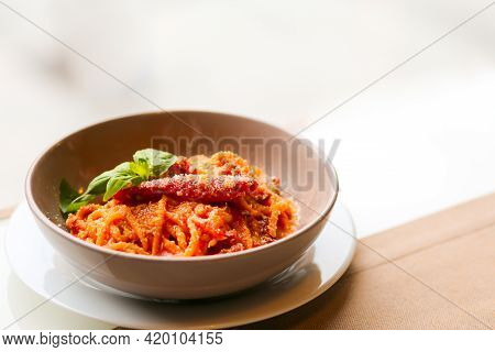 Pasta With Meatballs, Tomatoes And Chili. Pasta With Parmesan And Basil. Spicy Tomato And Chili Past