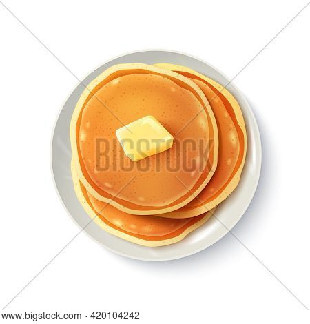 Breakfast Food Menu Item Tasty Fluffy Homestyle Pancakes With Butter Plate Realistic Top View Image