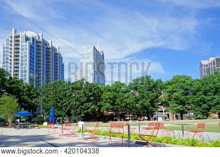 View Of Downtown Raleigh Buildings From Moore Square Park