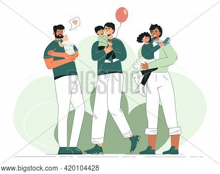 Fathers Day Concept Diverse Multiethnic Dads Hugging Children. Set Of Happy Single Father With Baby