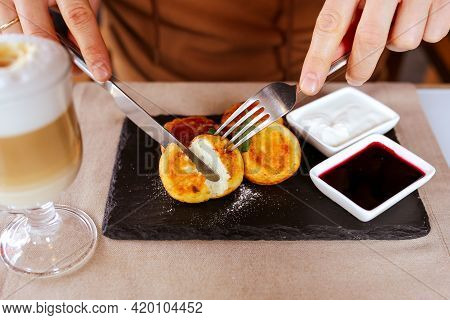 Delicious Homemade Cheesecakes Cut With A Sprinkled Fork. Sirnik. Breakfast With Cheese Cakes And Co
