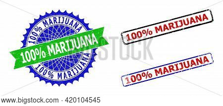 Bicolor 100 Percents Marijuana Stamps. Blue And Green 100 Percents Marijuana Seal With Sharp Rosette