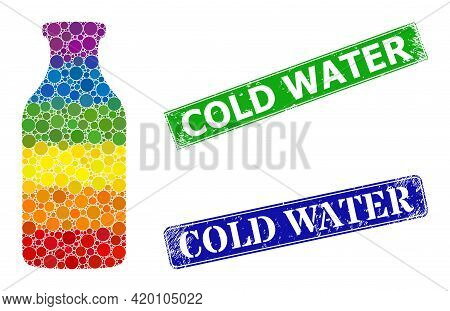 Rainbow Colorful Gradient Circle Mosaic Bottle, And Cold Water Corroded Framed Rectangle Stamp Seals