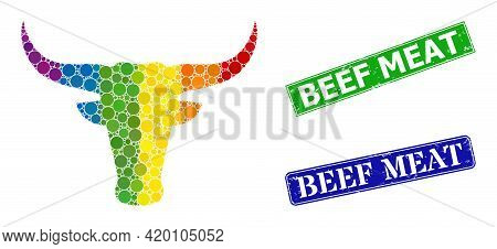 Rainbow Colorful Gradiented Round Dot Mosaic Bull Head, And Beef Meat Scratched Framed Rectangle Sea