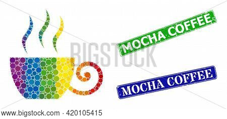 Rainbow Colorful Gradiented Circle Collage Coffee Cup, And Mocha Coffee Dirty Framed Rectangle Water