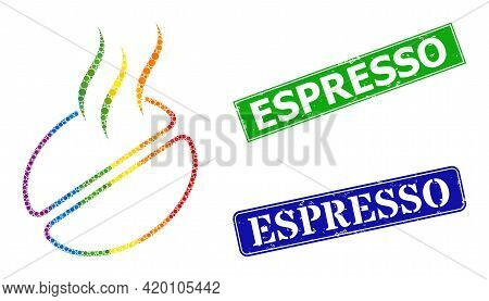 Spectrum Colorful Gradient Round Dot Mosaic Coffee Smell, And Espresso Grunge Framed Rectangle Water