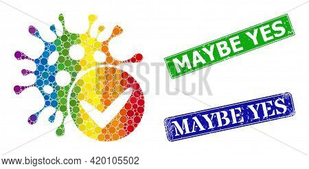 Rainbow Colored Gradient Round Dot Mosaic Confirmed Coronavirus, And Maybe Yes Textured Framed Recta