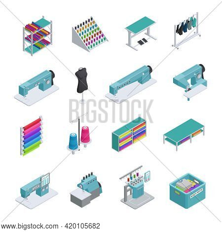 Colored And Isolated Garment Factory Isometric Icon Set Machines Sewing Machines Garment Manufacturi