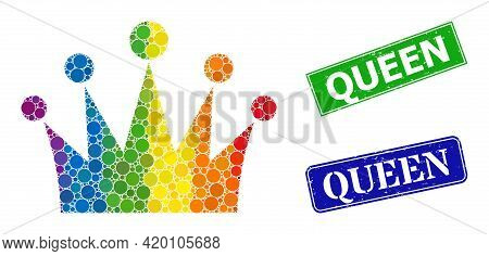 Spectral Colorful Gradiented Rounded Dot Mosaic Crown, And Queen Unclean Framed Rectangle Stamp Seal