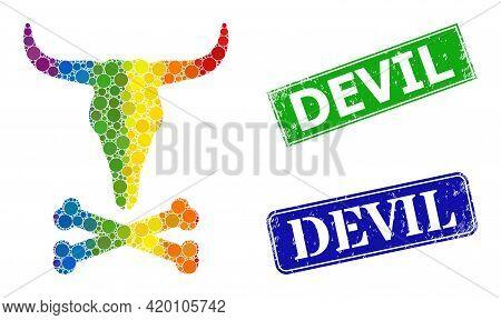 Spectrum Colored Gradient Circle Collage Dead Bull Bones, And Devil Grunge Framed Rectangle Stamp Se