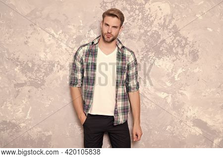 Stylish And Trendy. Stylish Man Abstract Background. Handsome Guy In Stylish Wear. Everyday Wardrobe