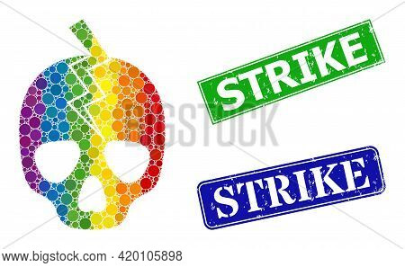 Rainbow Colored Gradient Rounded Dot Collage Death Strike, And Strike Rubber Framed Rectangle Stamp