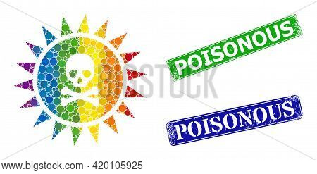 Rainbow Colorful Gradiented Round Dot Mosaic Death Sun Radiation, And Poisonous Dirty Framed Rectang