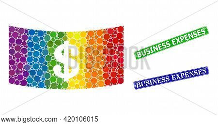 Rainbow Colorful Gradient Round Dot Collage Dollar Banknote, And Business Expenses Rubber Framed Rec