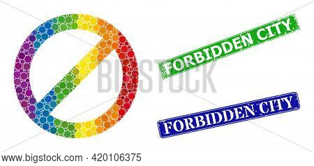 Spectral Vibrant Gradient Circle Mosaic Forbidden, And Forbidden City Corroded Framed Rectangle Seal