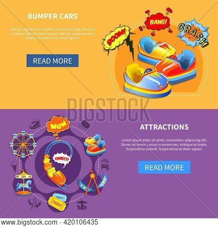 Bumper Cars And Attractions Horizontal Banners Website Design Abstract Isolated Vector Illustration