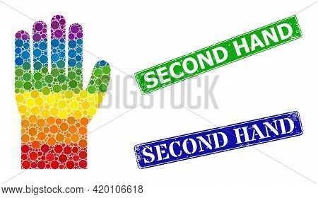 Rainbow Colorful Gradient Round Dot Mosaic Hand, And Second Hand Corroded Framed Rectangle Stamp Sea
