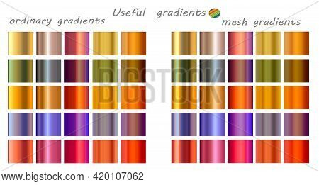 Multicolored Gradient Set. Mesh And Regular Gradients. Gold, Silver Colors.