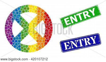 Spectrum Colored Gradiented Round Dot Collage No Entry, And Entry Scratched Framed Rectangle Stamp S