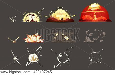 Bomb Explosion Freeze Frame Still Images Collection 3 Sets With Black Background Retro Cartoon Isola