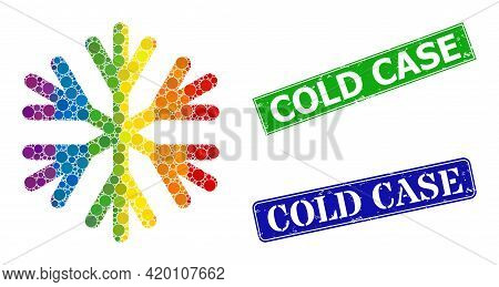 Spectrum Colorful Gradiented Circle Mosaic Snow Flake, And Cold Case Grunge Framed Rectangle Stamp S