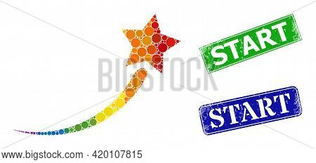 Rainbow Colorful Gradient Circle Collage Success Start Star, And Start Unclean Framed Rectangle Seal