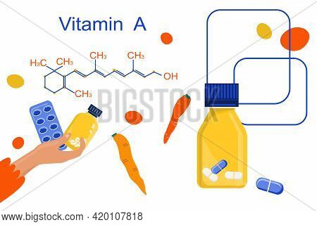 Vitamin A With Chemical Formula. Retinol, Beta Carotene. Anti Aging Complex Pills.hand With Blister