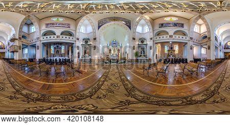 Radun, Belarus - May 2021: Full Spherical Seamless Hdri Panorama 360 Degrees Inside Interior Of Goth