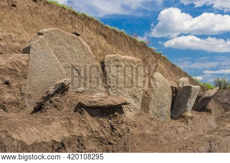 Excavations Place Of Gravestone Plates In Ancient Burial Mound In Novooleksandrivka Village In Ukrai