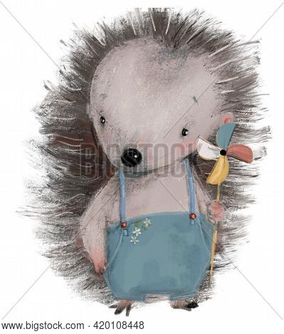 Cute Cartoon Little Character Hedgehog With Toy