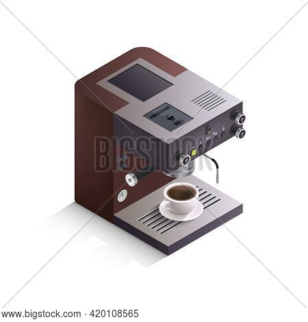 Modern Coffee Machine With Cup Of Drink And Inscription Americano On White Background Isometric Isol
