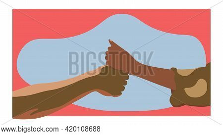 The Concept Of The Settlement Of A Military Conflict. Peaceful Agreement. Multiracial Handshake, Fla