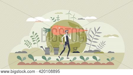 Sustainable Agriculture And Ecological Slow Food Growth Tiny Person Concept. Environmental Gardening