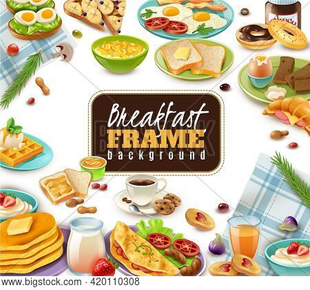 Breakfast Frame With Coffee Juice Sandwiches And Sweet Dishes Tableware And Napkins On White Backgro