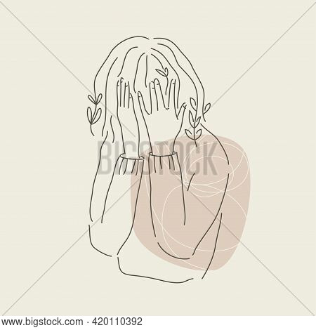Sad Girl Hiding Face In Hands. Modern Line Art. Mental Wealth Month Concept. Anxiety And Stress In I