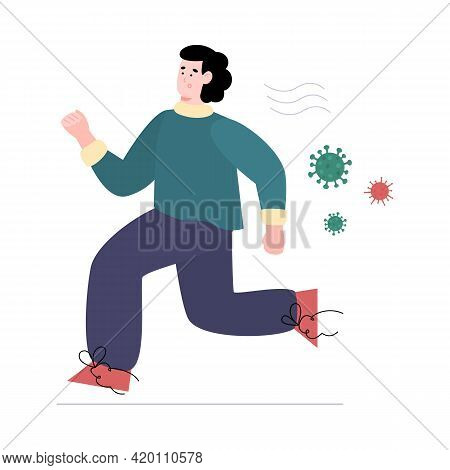 Man In Panic Afraid Of Germs And Viruses, Cartoon Vector Illustration Isolated.