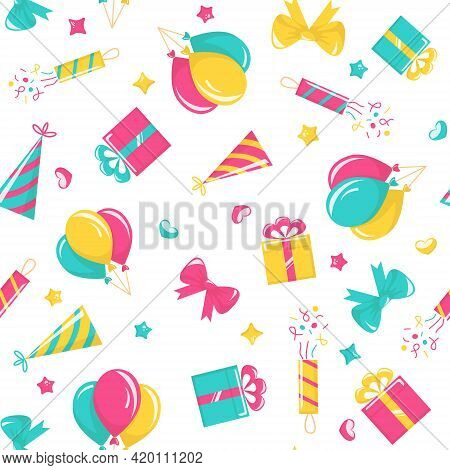 Birthday Party Seamless Pattern With Balloons, Poppers, Hats, Gift Boxes And Bows On White Backgroun