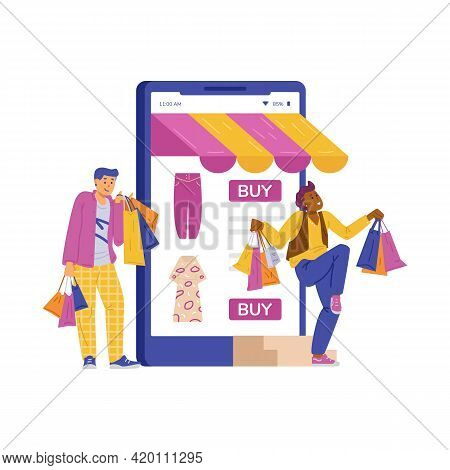 Happy Male Shoppers Customer Of Online Shops Enjoy Crazy Sale And Discounts.