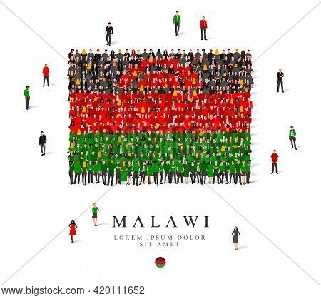 A Large Group Of People Are Standing In Green, Black And Red Robes, Symbolizing The Flag Of Malawi.