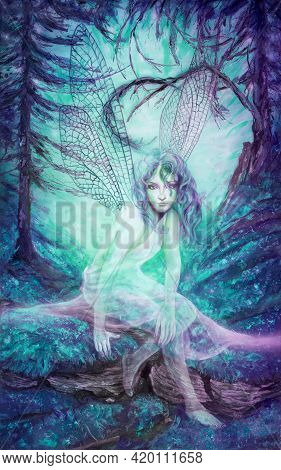 Mysterious Attractive Sensual Seductive Sexy Young Transparent Ethereal Fairy Elf Girl With Long Hai