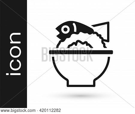 Black Served Fish On A Bowl Icon Isolated On White Background. Vector