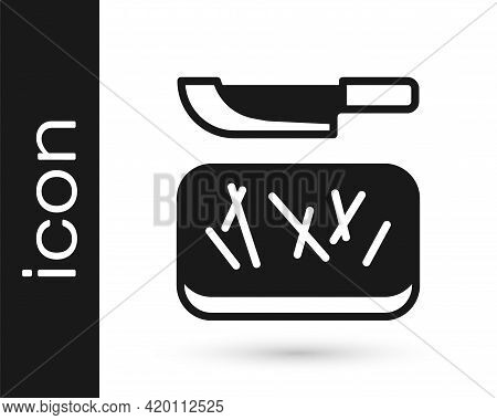 Black Cutting Board And Knife Icon Isolated On White Background. Chopping Board Symbol. Cutlery Symb
