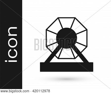 Black Lottery Machine Icon Isolated On White Background. Lotto Bingo Game Of Luck Concept. Wheel Dru