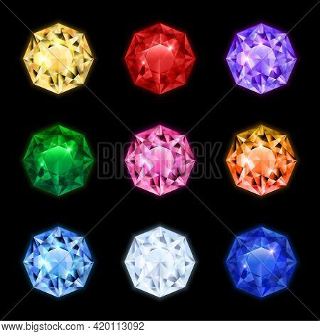 Colored And Isolated Realistic Diamond Gemstone Icon Set In Round Shapes And Different Colors Vector