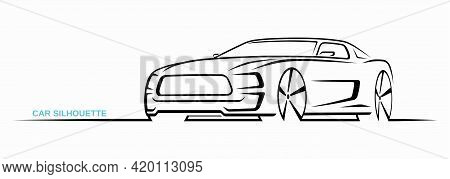 Muscle Car Silhouette Isolated On White Background. Sports Car Contour, Logo Design. Three-quarter V