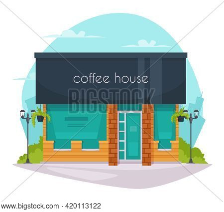 Coffeehouse Coffee Shop Cafe Street View Flat Poster With Black Roof And Large Green Window Panels V