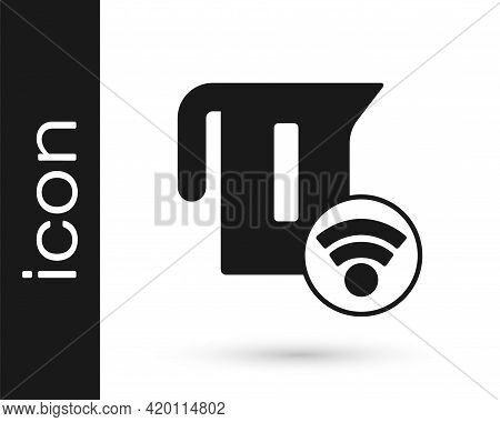Black Smart Electric Kettle System Icon Isolated On White Background. Teapot Icon. Internet Of Thing