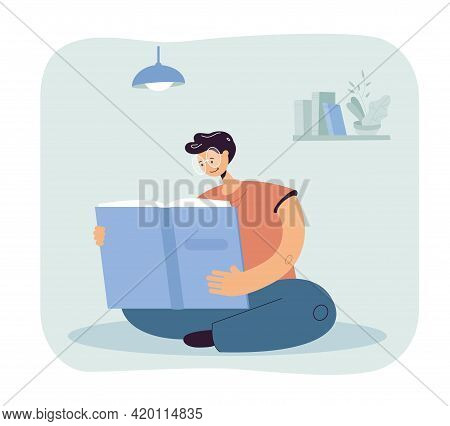 Man In Glasses Reading Giant Book In Room. Male Cartoon Character Studying Or Studying At Home Flat